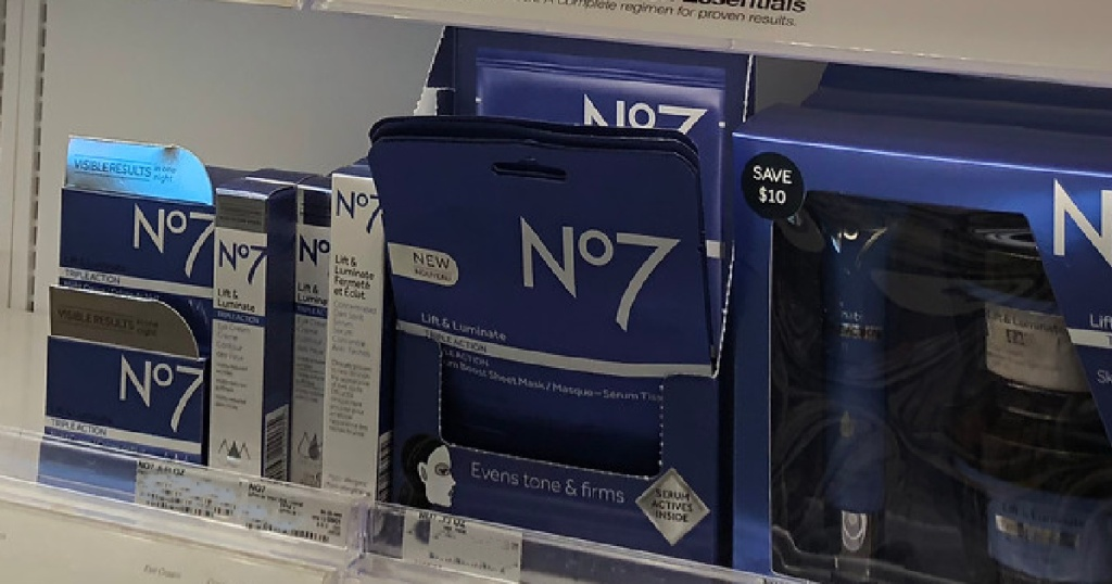 no7 serum face masks on store shelf