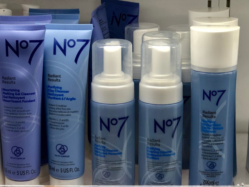 no7 beauty products sitting on a store shelf