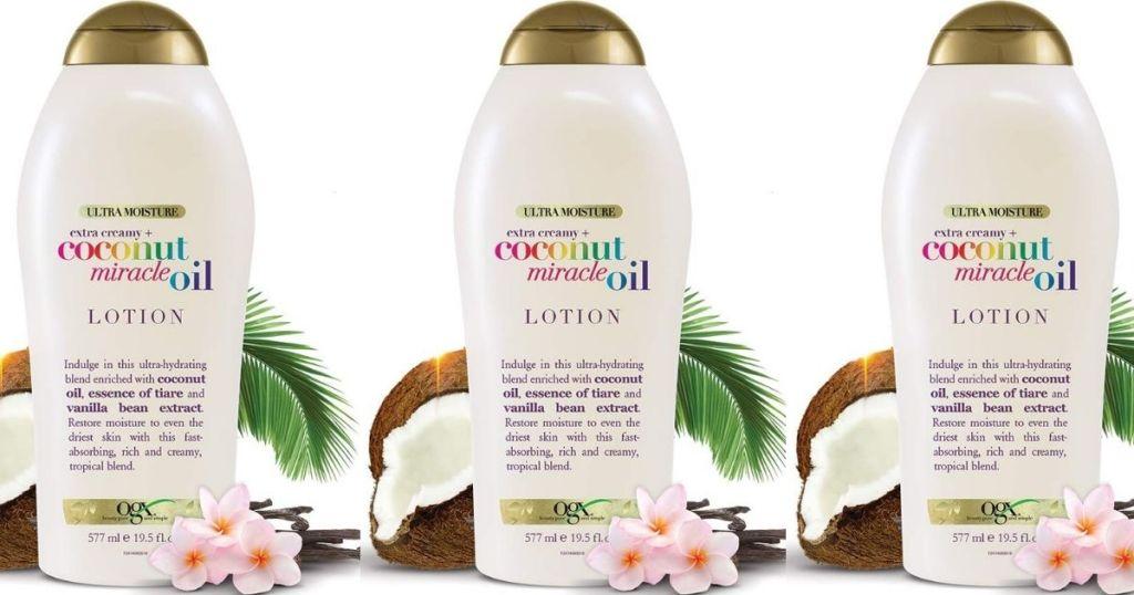 three OGX Coconut Lotions