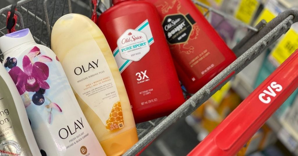 Olay and Old Spice body wash in CVS cart
