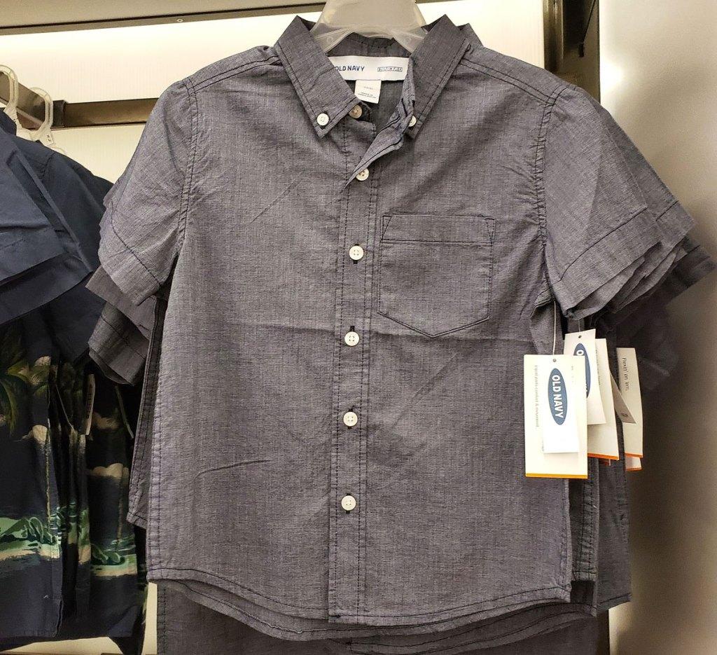 grey short sleeve button down boys shirt