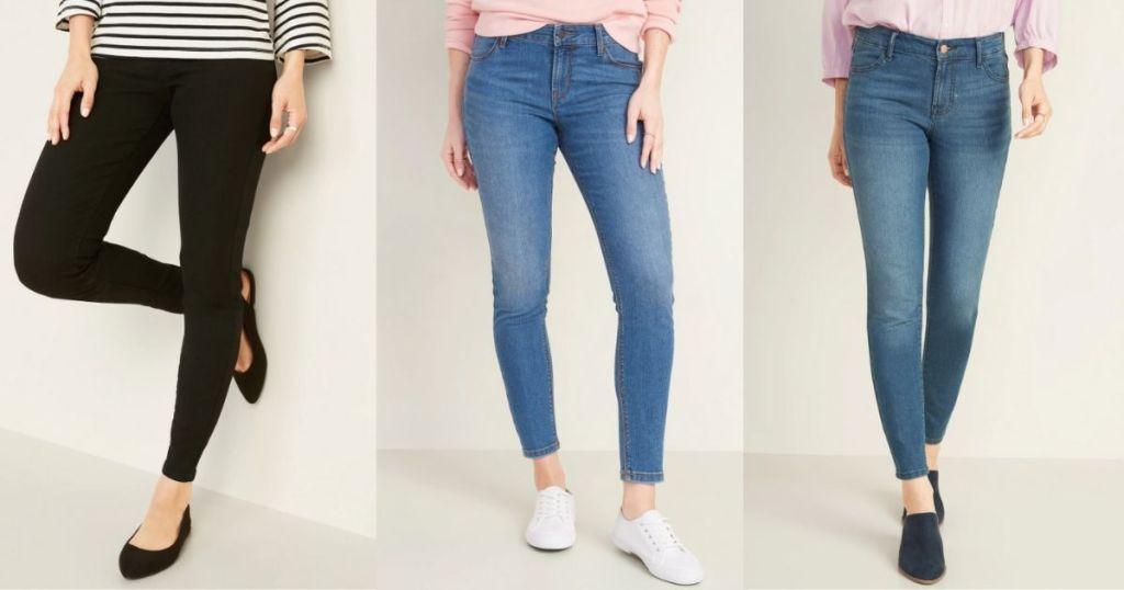 three women wearing jeans