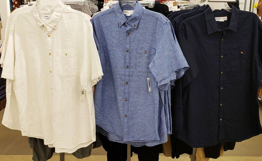 white, blue, and black short sleeve mens button down shirts