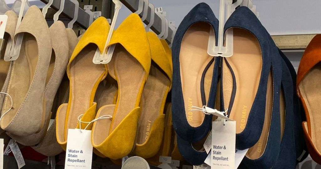 row of Old Navy women's shoes on hangers