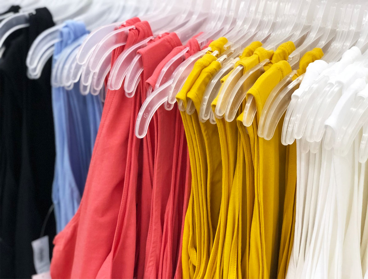 Old Navy various colors of womens tank tops on hangers