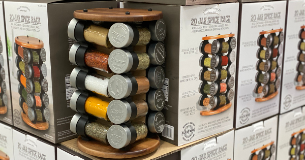 Olde Thompson 20 Jar Spice Rack on display with boxes