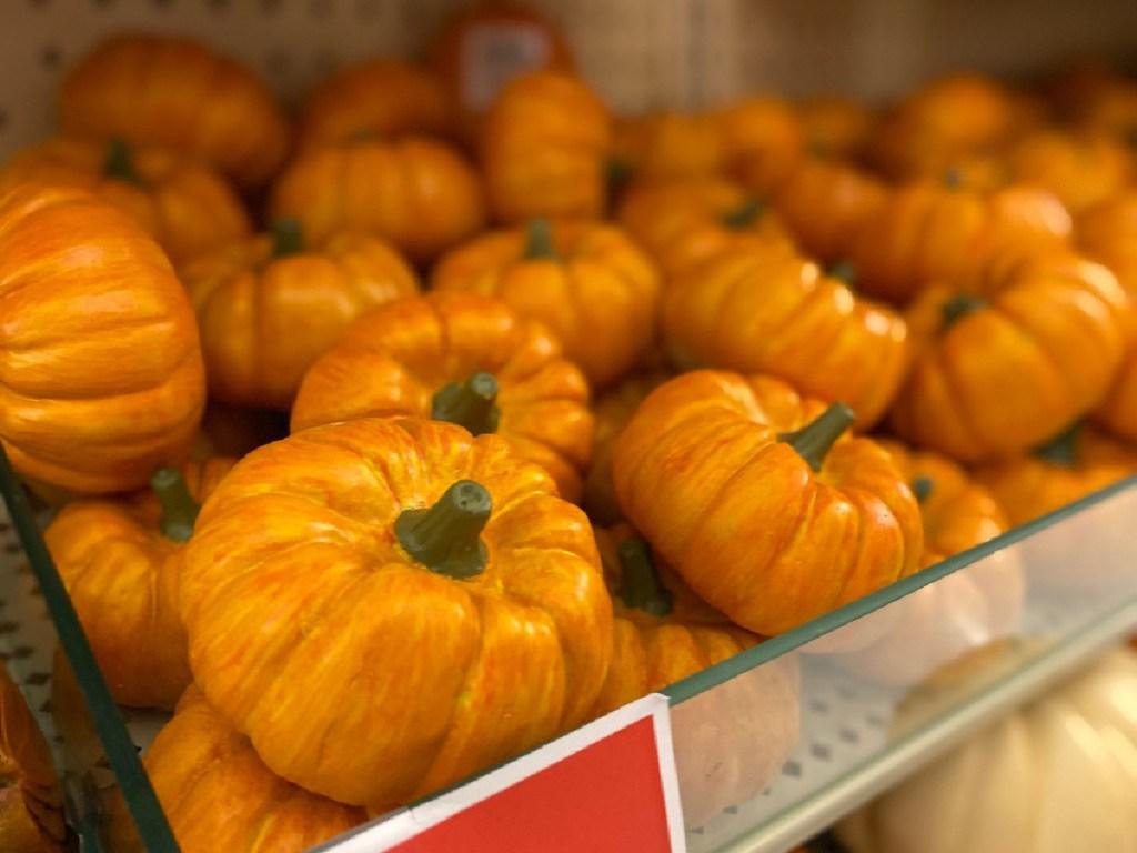 small pumpkin decor on store shelf