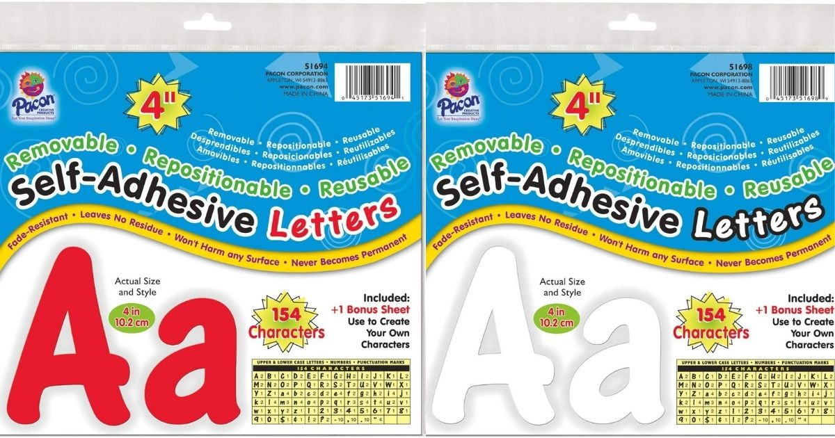 two packages of reusable letters
