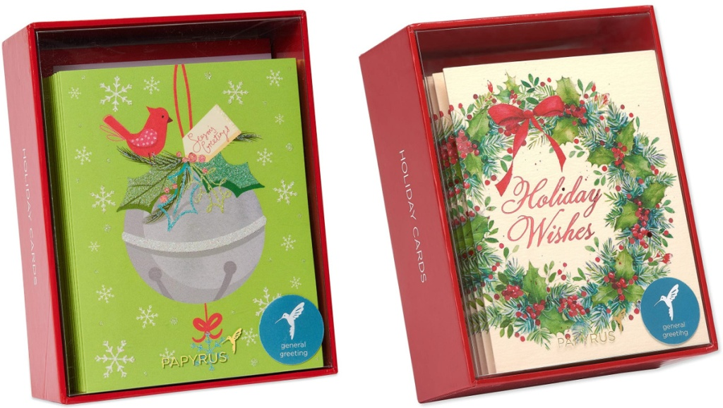 2 boxes of papyrus holiday boxed cards