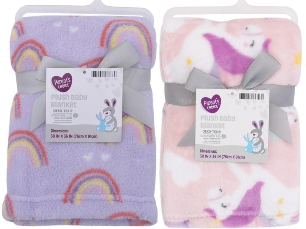purple rainbow baby blanket and pink unicorn baby blanket