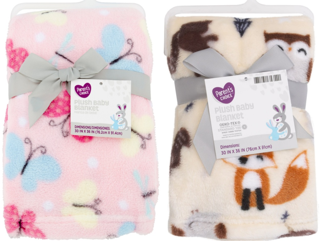pink butterfly baby blanket and cream and brown fox baby blanket