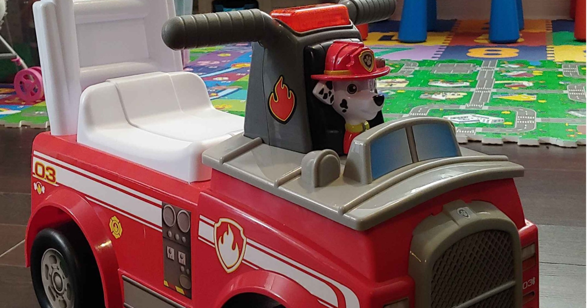 kids fire truck ride on toy in home