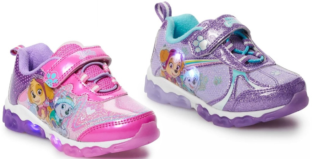 Two different styles of Paw Patrol Toddler Girls shoes from Kohl's