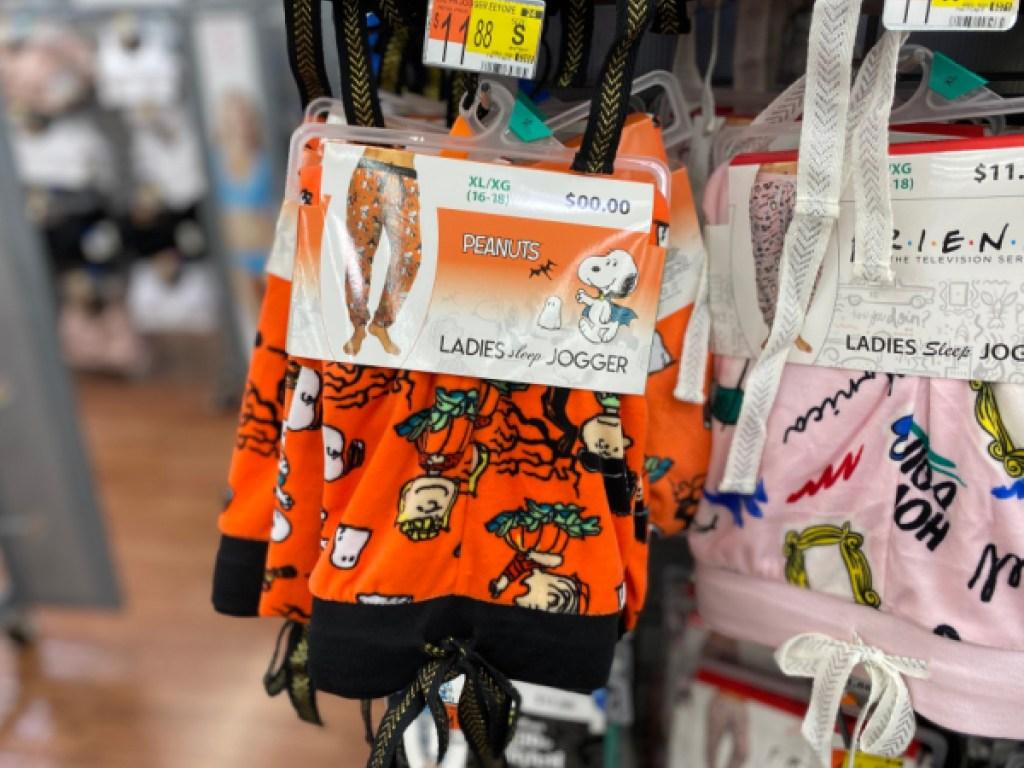 women's pajama bottoms hanging in store