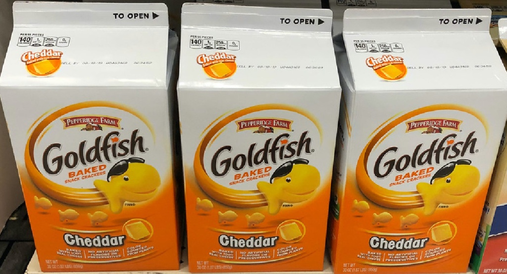 large cartons of cheddar goldfish crackers on store shelf