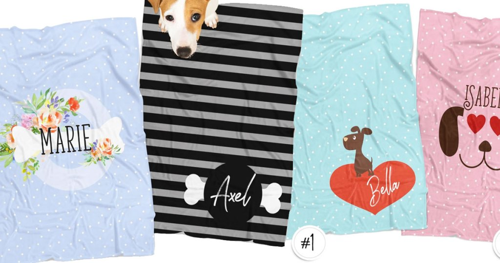 four personalized pet blankets in different prints