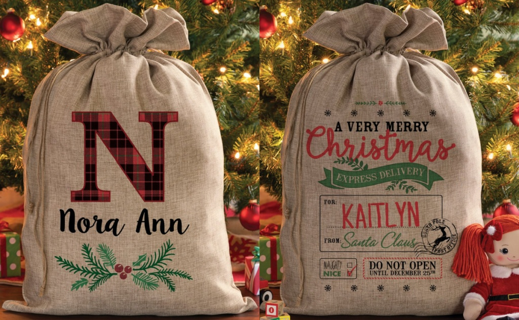 two burlap santa sack and doll in front of Christmas tree