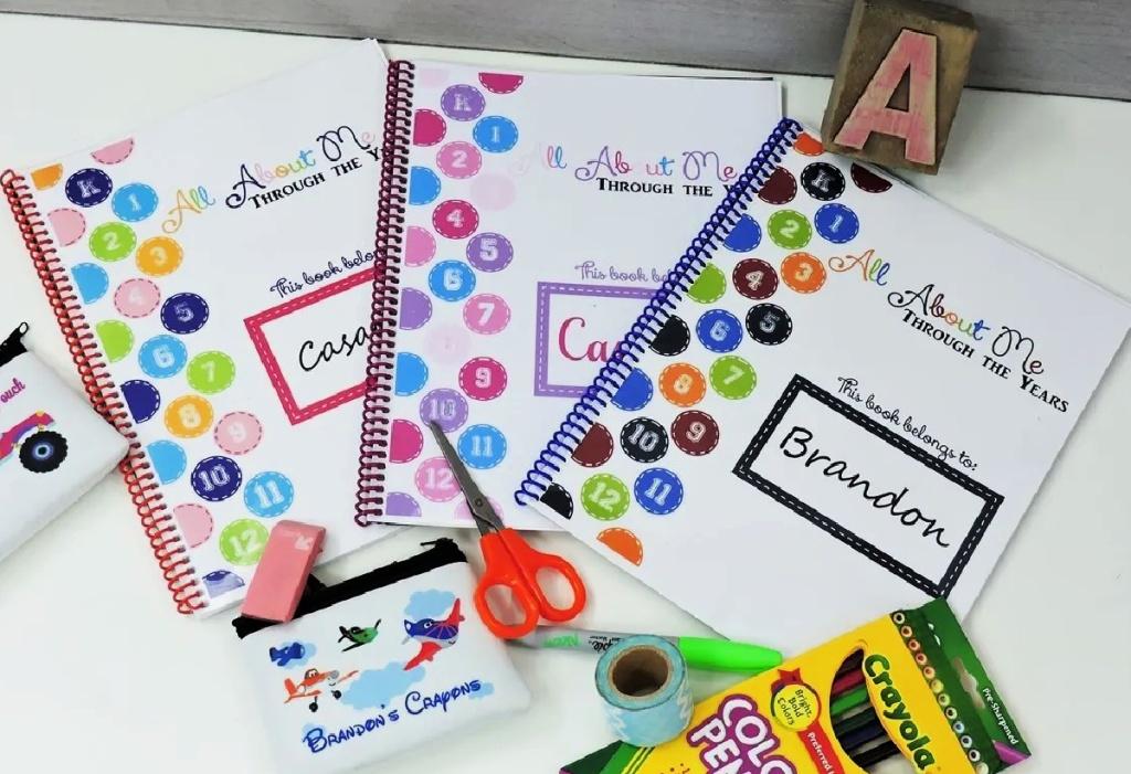 Personalized School Year Memory Books on desk with school supplies