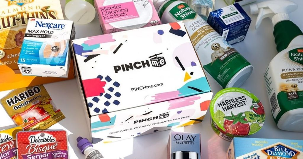 PinchMe Box with samples around it