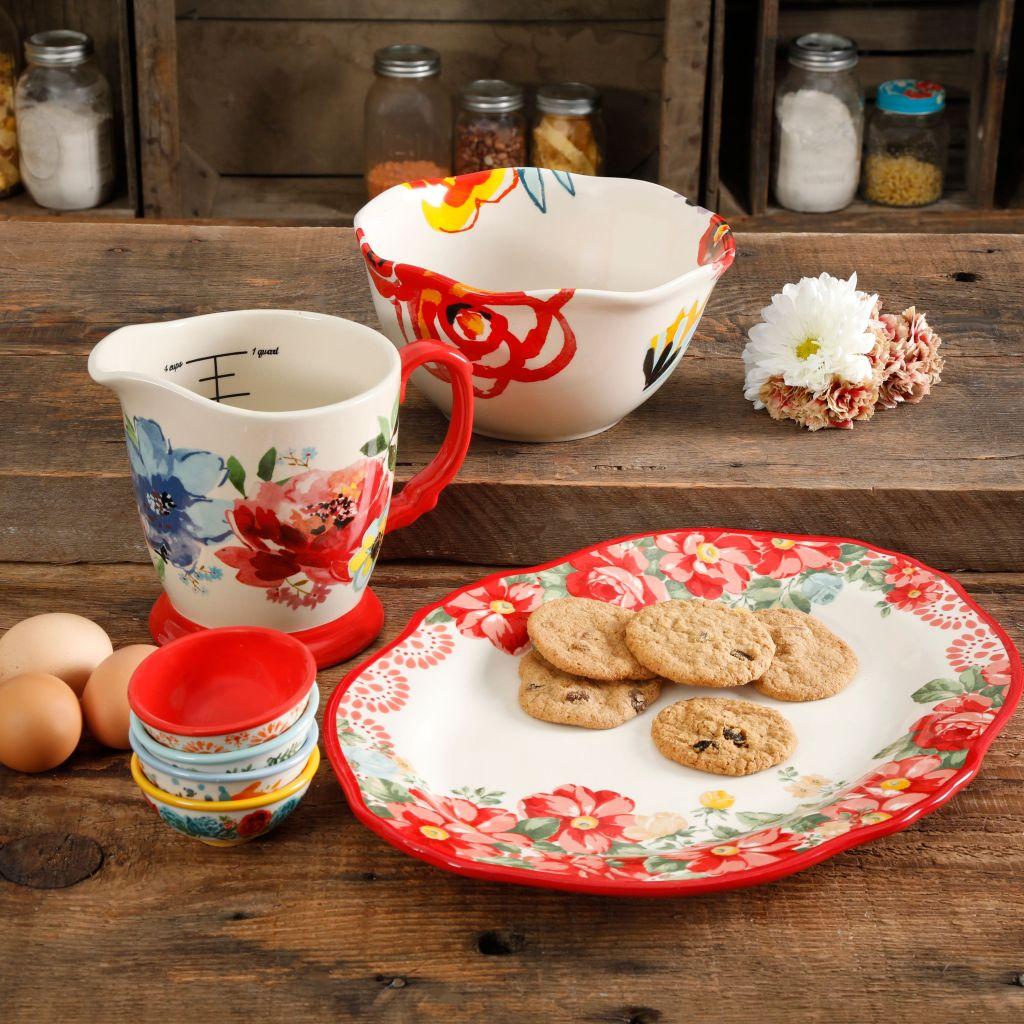 Pioneer Woman Serveware set on wooden countertop