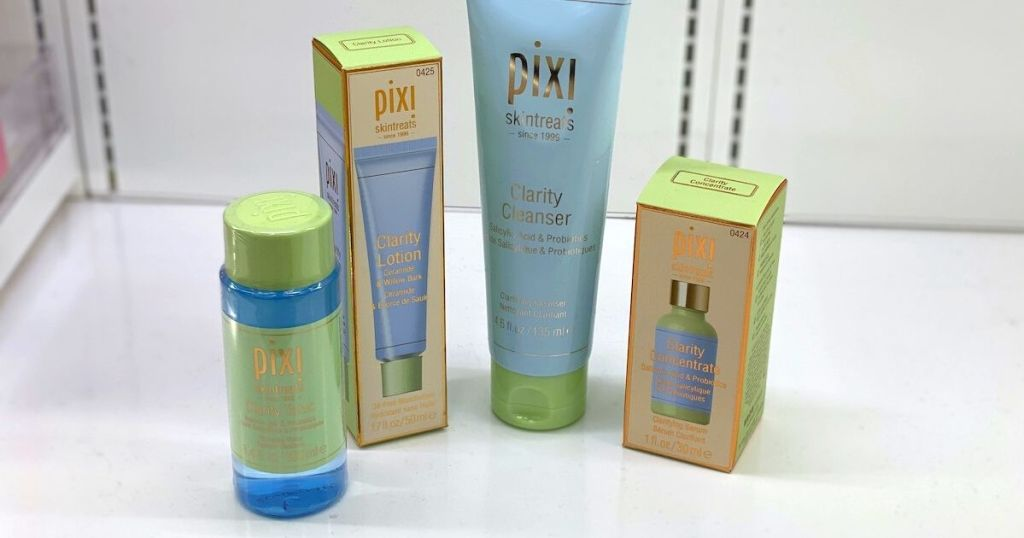 four pixi products on white shelf at target