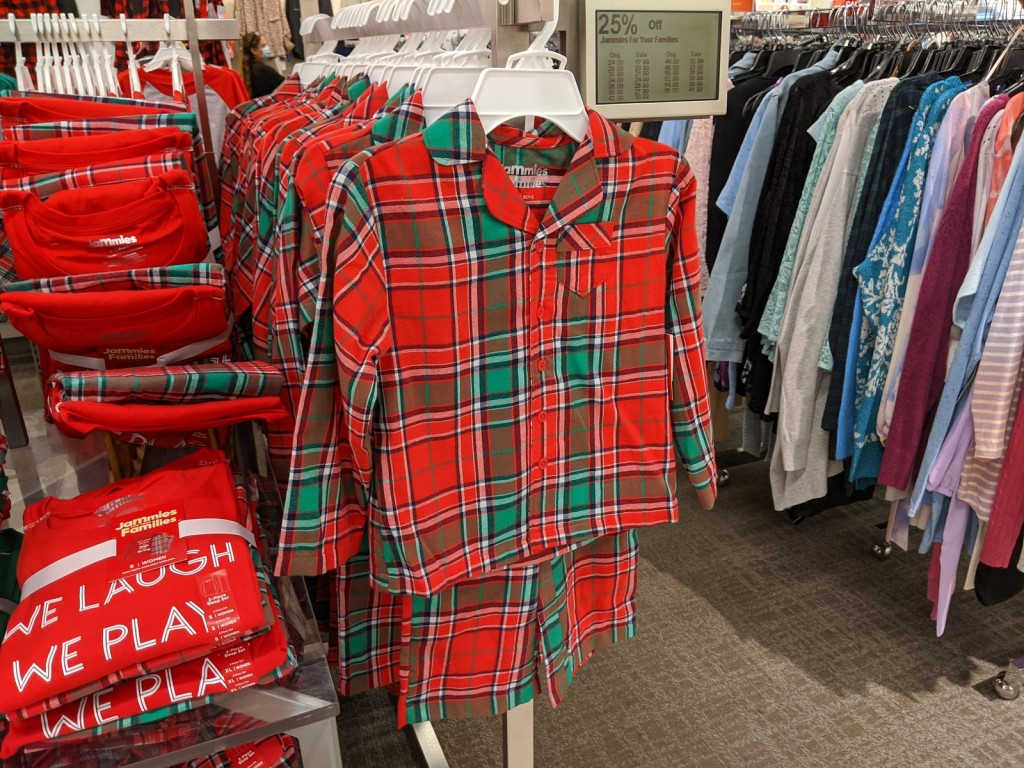 Plaid Jammies for the Family shown in store