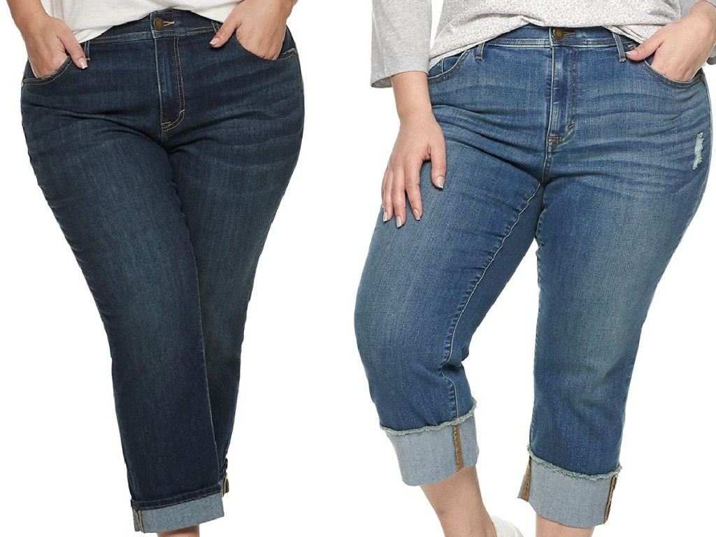 woman in dark blue jeans and woman in blue jeans