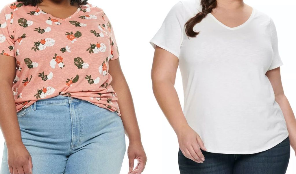 woman in pink tropical print tee and woman in white tee
