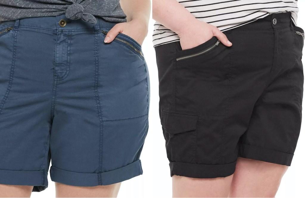 woman in blue bermuda shorts and woman in black bermuda shorts