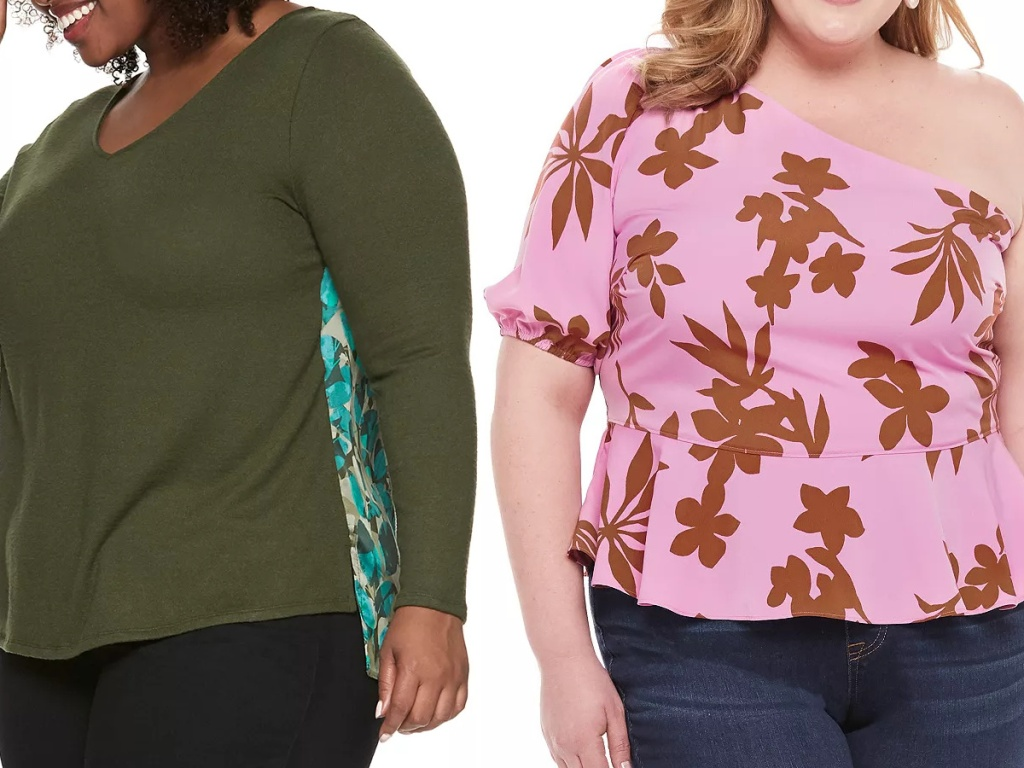woman in green top with print on back and woman in pink print one shoulder peplum top