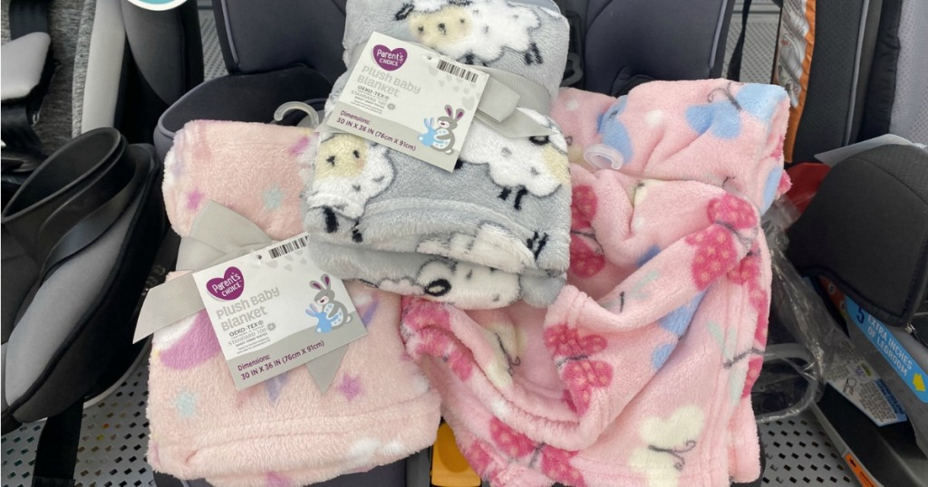 Plush Baby Blankets sitting in car seat in store