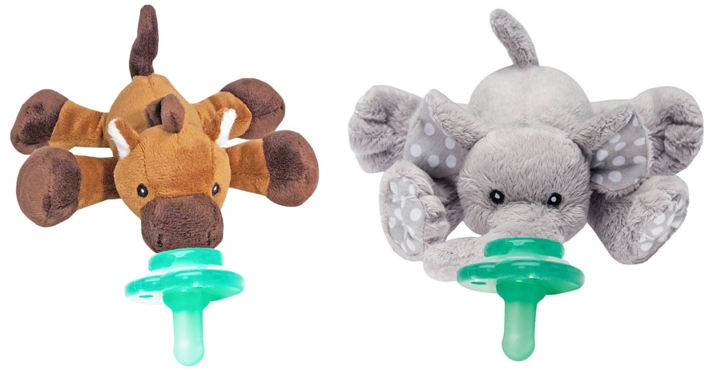 plush horse paci and grey elephant pacifier