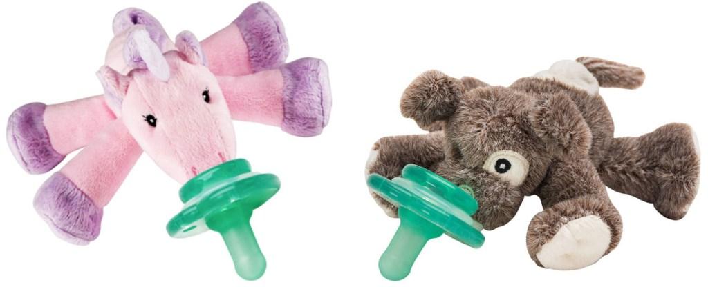 plush unicorn pacifier and puppy paci