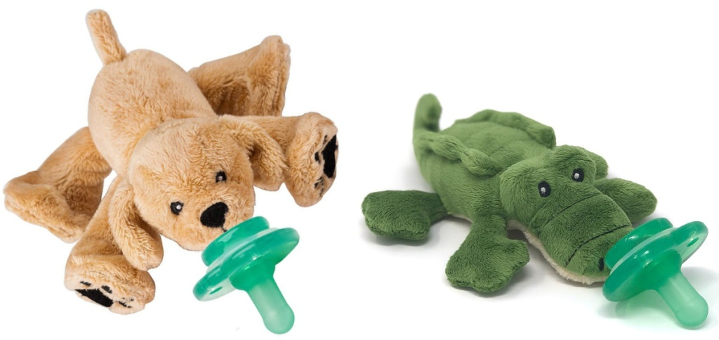 golden lab puppy pacifier and alligator paci