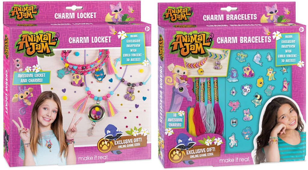 two girls charm necklace and charm bracelet making kits