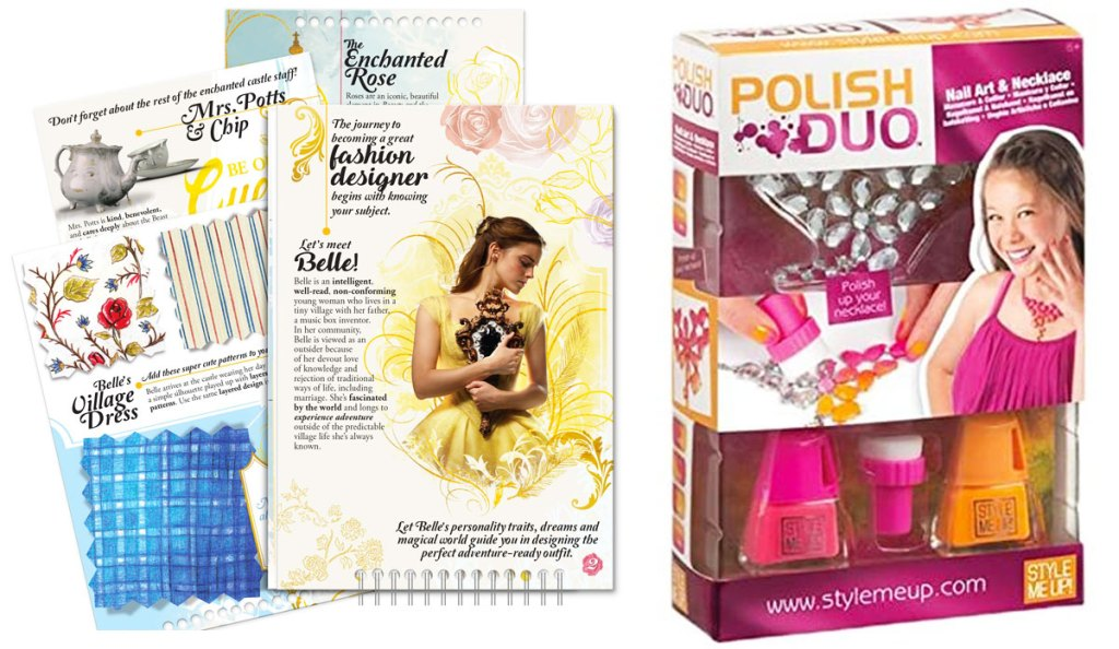 beauty and the beast sketch book and girls manicure and necklace making activity kit