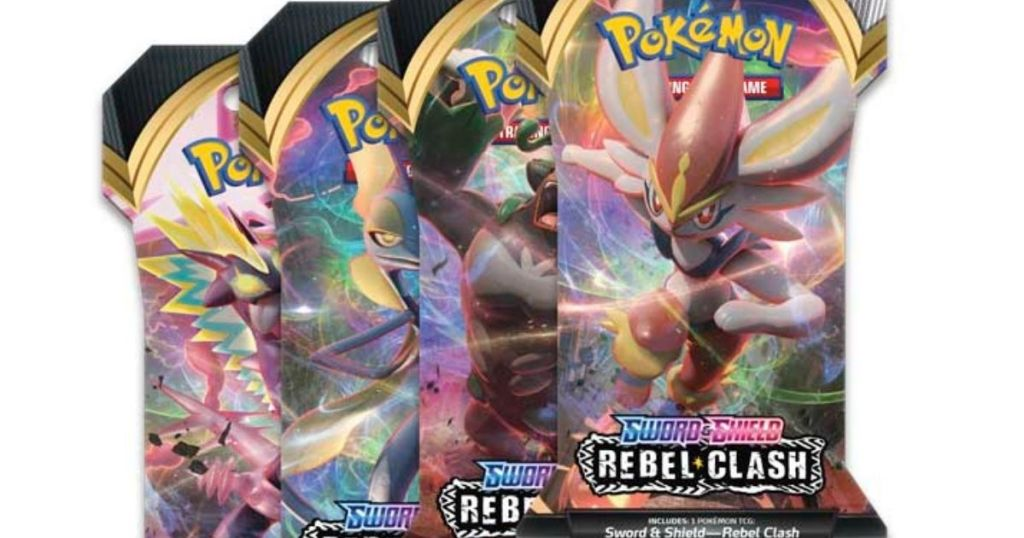 four packs of Pokemon cards