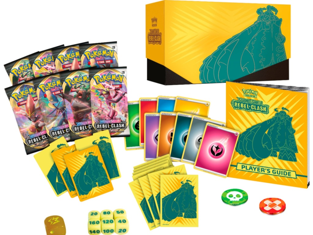 trading card game box, cards, die, and more game pieces