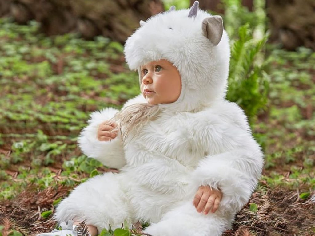 little girl dressed as a baby goat