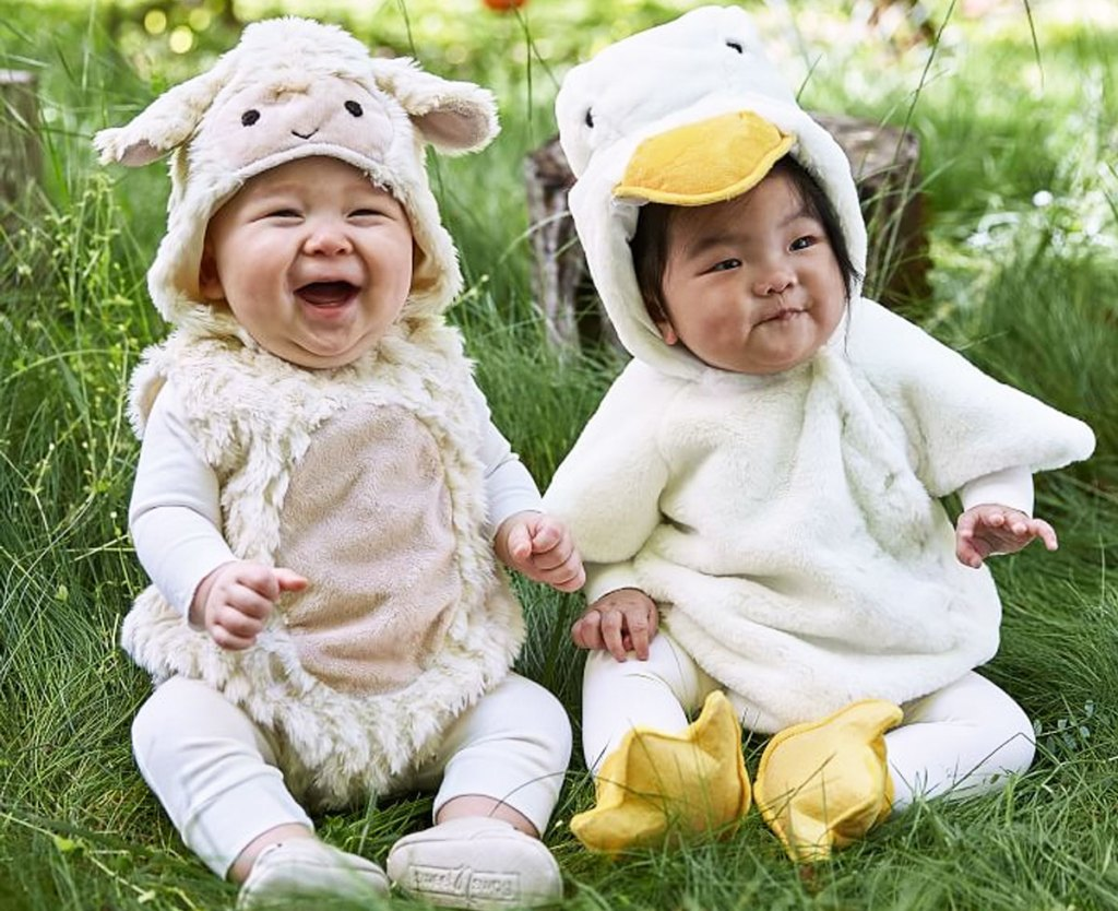 two babies dressed in lamb and duckling halloween costumes