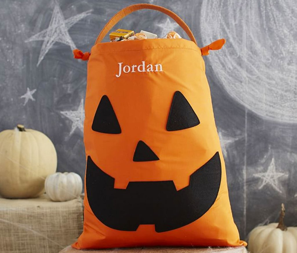 orange jack-o-lantern kids halloween treat bag