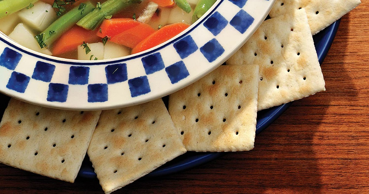 Saltine Crackers around a bowl of soup