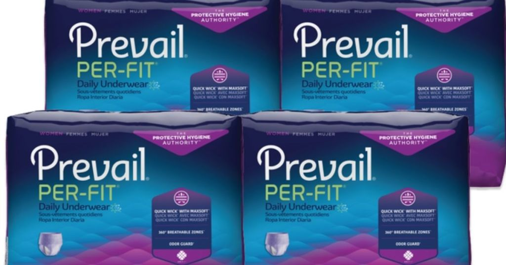 four packages of Prevail adult diapers
