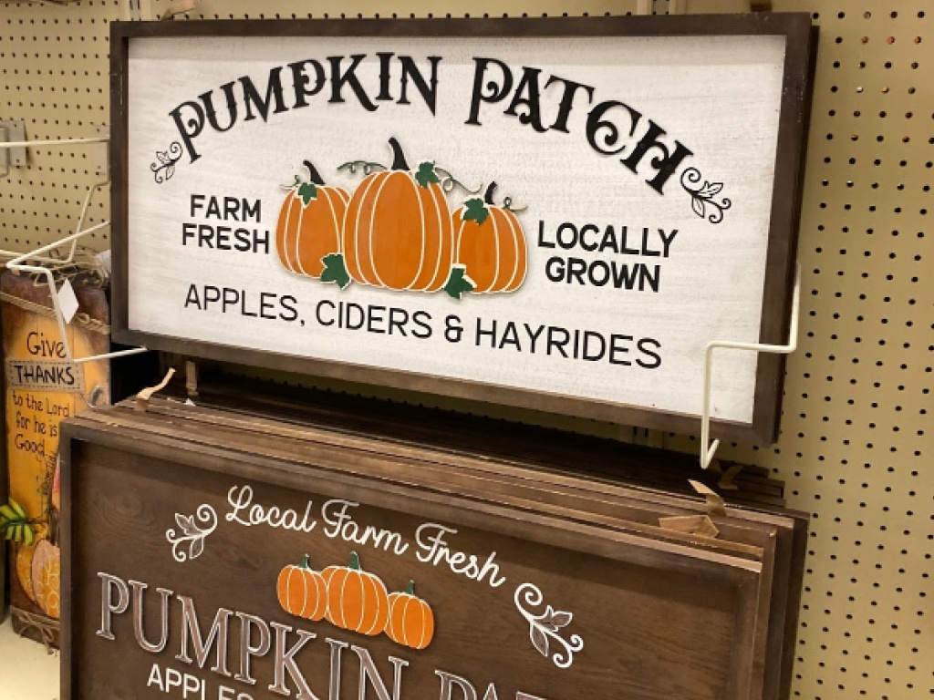 pumpkin patch wall decor signs hanging in store