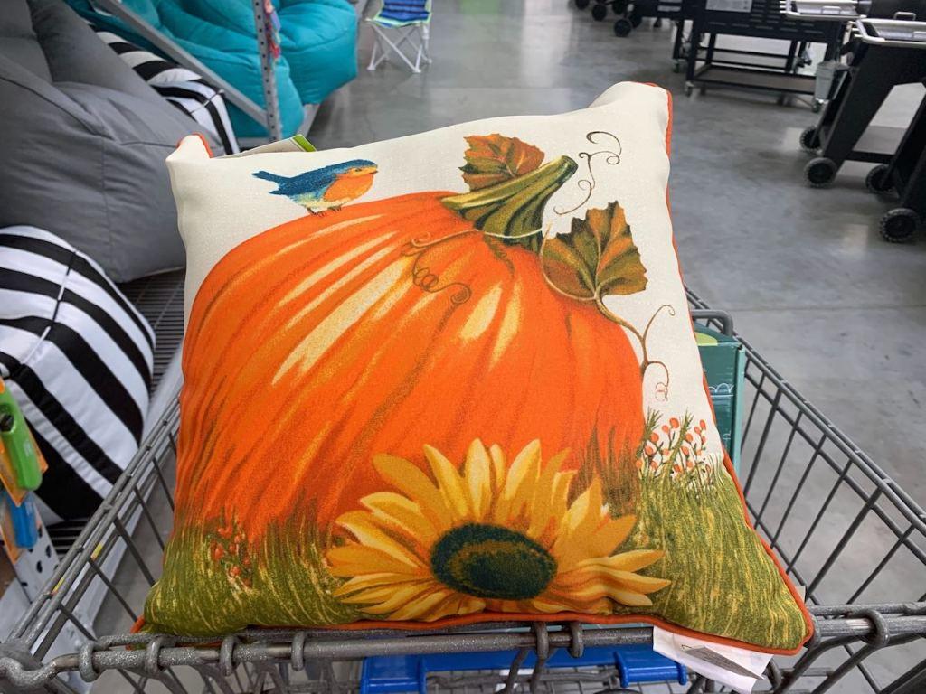 Pumpkin Pillow in walmart cart