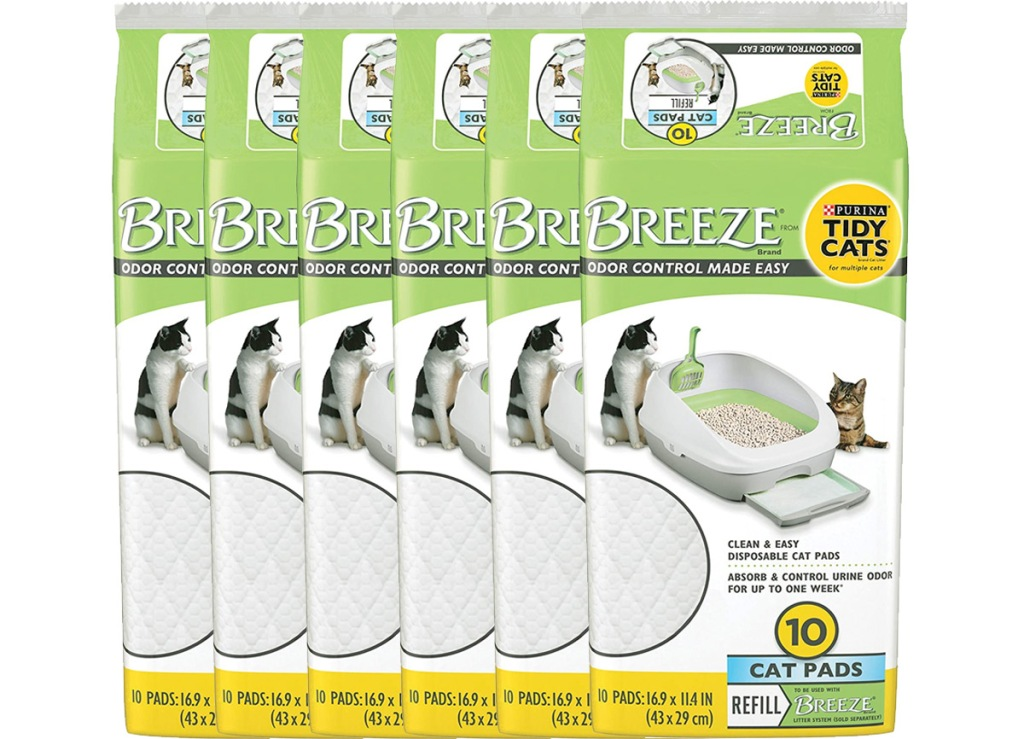 six packages of Purina Tidy Cats Breeze litter system refill pads