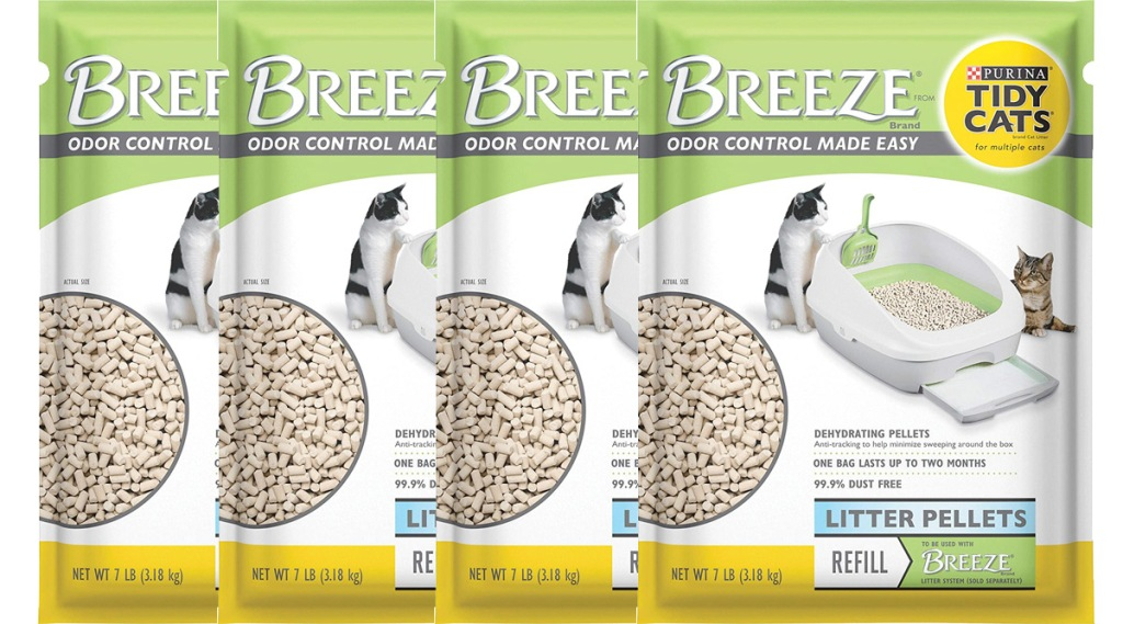 four packages of Purina Tidy Cats Breeze litter system refill pellets