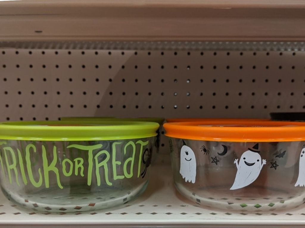 Two Halloween Design Pyrex Storage Containers with Lids