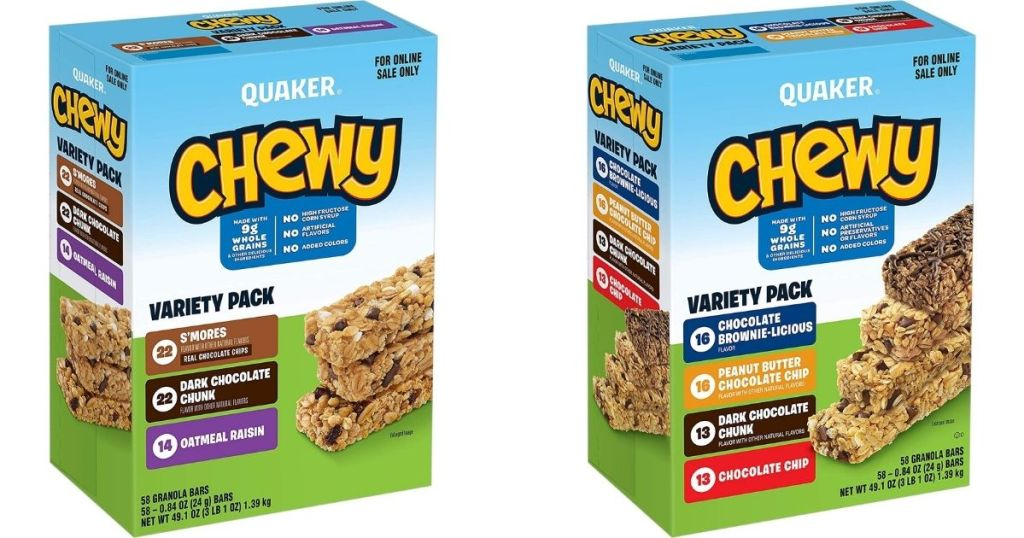two boxes of Quaker bars