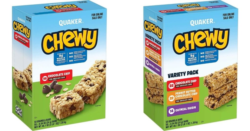 two boxes of Quaker Chewy Bars